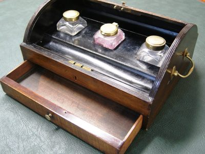 Early 19th Cent Tambour Top Gany Ink Pen Box
