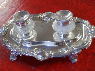 'Art Noveau' Style, Silver Plate & Crystal Glass Desk Tidy - Product Categories Antique Desk Sets, Ink-Wells, Boxes & Desk
